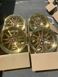 Used Set 18x8.5 +35 AodHan AH07  5x100  Gold Machined Face Wheels