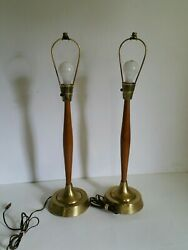 Vintage Pair of Walnut & Metal Mid Century Modern Sculptural Table Lamps