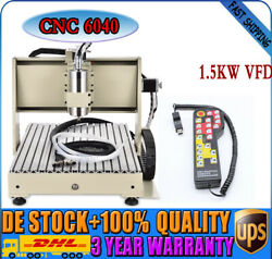 CNC 6040 3Axis Engraver 3D Mill Drilling Machine 1.5KW VFD Water-cooling + RC