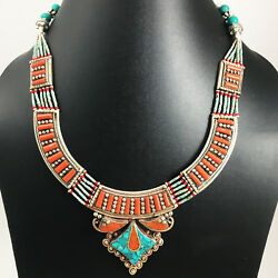 SEPN14A - Himalayan Turquoise & Coral Tibetan Handmade Necklace