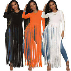 Women Long Sleeves Tassels Solid Color Casual Club Long Blouses Tops XXX104 $12.49