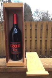 Unusual Gift Handmade Wooden Wine Holder Box Heart Accent Joints Slide Lid