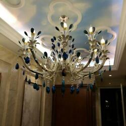 67CM Peacock Tail Blue Crystal Ceiling Lamp 6 Light Chandeliers Lighting Fixture $296.55