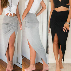 Skirt Sexy Skinny Slit Long Skirts Maxi Women Pencil Ruched Side Split Slim $16.89