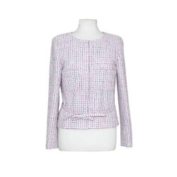 Chanel WhitePink Silver Check Tweed Peplum Crop Jacket with Belt size 42