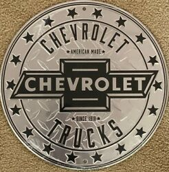 """Chevrolet Trucks 12"""" Round Metal Sign Great For Your Man Cave New Since 1918"""