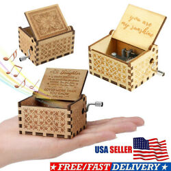 Wooden Music Box MomDad To Daughter -You Are My Sunshine Engraved Toy Kid Gift