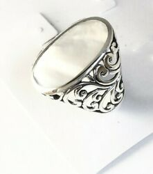 Sterling Silver 925 Filigree Oval Mother Of Pearl Ring Size 6 R081207