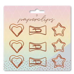 9 Pack Novelty Rose Gold Copper Style Shaped Paper Clips Hearts Bow ties amp; Stars $4.50