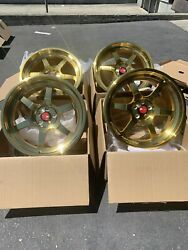 18x8.5 AodHan AH08 5x100 +35 Gold Rims Wheels (Used Set)
