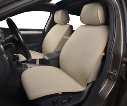 2 Tan Front Car Seat Covers Poly Fabric w Leatherette trim - Universal #80503