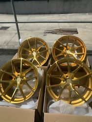 20x920x10.5 AodHan LS007 5X114.3 +3035 Gold Machined Face Wheels (New Set)