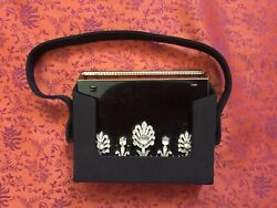 Vintage VOLUPTE MakeUp Compact Black Lacquer Rhinestones Silk Purse Never Used