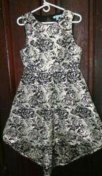 She + Sky Champagne Metallic Black Rose Floral Sleeveless High-Low Dress Size L