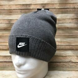 Nike Mens Grey Knit Beanie Adult Unisex White Logo OSFA
