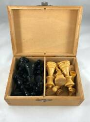 Vintage Wooden Chess Pieces Set 1950 - 1960 Era with Box - Made in France