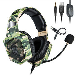 US ONIKUMA Gaming Headset Headphone PS4 XBox Switch 3.5MM MIC Camouflage Green