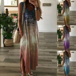 Women's Print Long Dress Tie Dye Halter Sleeveless Bohemian Maxi Boho Dresses US