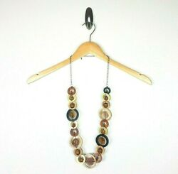 Anthropologie Necklace Wooded Beaded Circles Layered Gold Painted Boho Gypsy