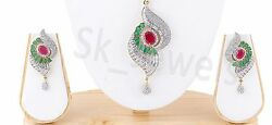 8.50ct NATURAL ROUND DIAMOND 14K WHITE GOLD EMERALD RUBY GEMSTONE PENDANT SET