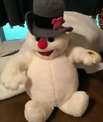 "Vintage Gemmy Singing Frosty The Snowman Plush Stuffed Toy 13"" Sings"
