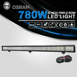 780W 42 inch LED Driving Light Bar Triple Row Combo Beam Offroad wDT Wiring Kit