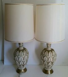 Vintage Pair Jo Wallis Ceramic Table Lamps w Drum Shades Mid Century Modern $490.00