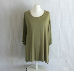 Ava & Viv Womens Plus 4X 3X Top T-Shirt Olive Green Ribbed Textured Blouse