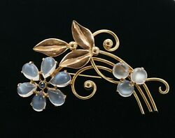 Vintage circa 1940s Tiffany and Co moonstone and sapphire flower brooch crafted