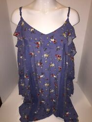 Blu Pepper Plus Boho Floral Cold Shoulder Tunic Dress Size 3XL Blue Crotchet Tri $24.99