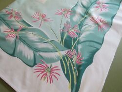 Vintage Mid Century Tropical Tablecloth Turquoise & Pink Floral Cloth 52x64