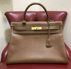 Hermes Kelly 35 Hand Bag Brown Leather Used