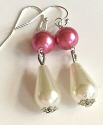 Silver Pink White Pearl Earrings Dangle Vintage Style Baroque Plated