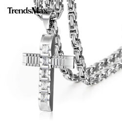 Cubic Zirconia CZ Cross Necklace Pendant Stainless Steel Byzantine Box Chain Men $15.29