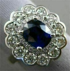 ESTATE 2.35CT DIAMOND & SAPPHIRE 18KT WHITE GOLD 3D DOUBLE HALO ENGAGEMENT RING