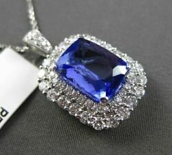 ESTATE LARGE 5.26CT DIAMOND & TANZANITE 18KT WHITE GOLD 3D HALO FLOATING PENDANT