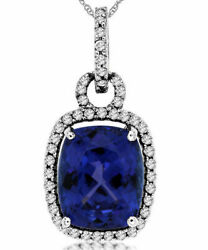 ESTATE LARGE 5.56CT DIAMOND & AAA TANZANITE 14KT WHITE GOLD CUSHION HALO PENDANT