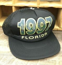 Florida 1997 Beach Week Sail Boats Hat Black Mesh Snapback Trucker Cap VTG N