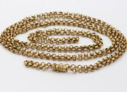 Georgian 14K Solid Gold Textured Link Belcher 57 Inch Long Guard Chain