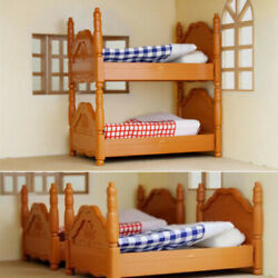 Doll House Miniature Plastic Bunk Bed Furniture Set Kids Role Pretend Toy  US
