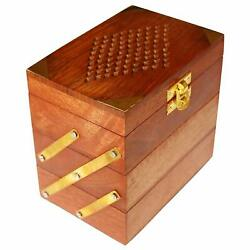 Wooden Jewelry Box Women's Jewel Organizer Hand Carved Cut Carvings Gift Items