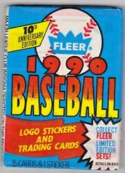 1990 Fleer 1 Unopened Pack Of Baseball Cards