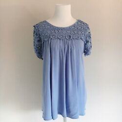 Altar'd State Womens Size Medium Periwinkle Crochet Short Sleeve Ti Back Blouse