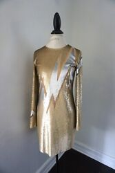 Emilio Pucci Gold Silver Sequin Beaded Evening Elegant Cocktail Mini Dress US 8