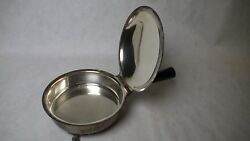 Vintage Silver-plate Footed Cigarette Butler  Ash Tray with Handle