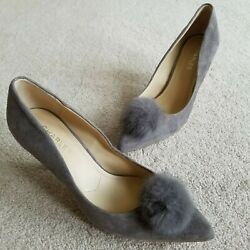 Charles By Charles David Sadie Pump Leather Shoes Gray Rabbit Fur Women's 8.5 M