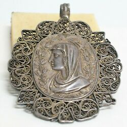 An Antique Outstanding Renaissance Signed Silver Pendant -Maria And Jesus Christ