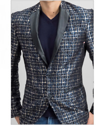 INC International Concepts Mens Slim-Fit Party Jacquard Jacket Black Combo XS