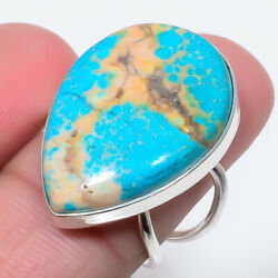 Superb Blue Turquoise Gemstone 925 Sterling Silver Ring Size Adst.