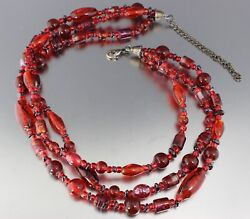 VINTAGE 80'S MULTI 3 STRAND RED BLACK ART GLASS BEAD NECKLACE